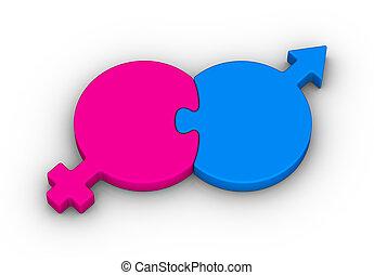 Heterosexual Couple symbol on white background