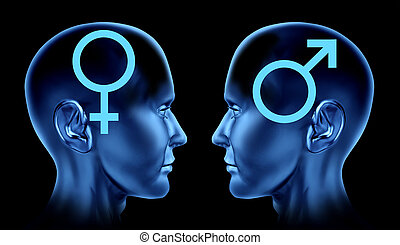 Heterosexual relationship with two human heads facing each other with the male symbol and the female icon representing sexuality between a man and woman.
