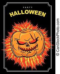 hetsande, ögon, halloween, helgdag, vektor, skrämmande, fest., affisch, bakgrund., pumpa, röd