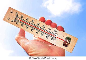 hetta uppe högt, temperaturer, våg