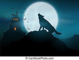heulen, halloween, wolf, hintergrund, mond