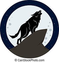 heulen, nacht, wolf, mond