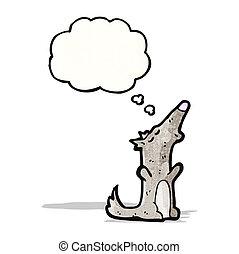heulen, wolf, karikatur