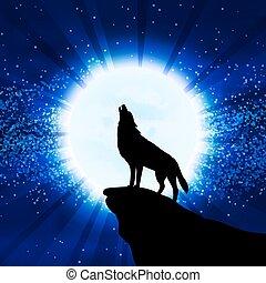 heulen, wolf, mond