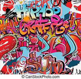 heup, stedelijke , muur, vector, graffiti, hop