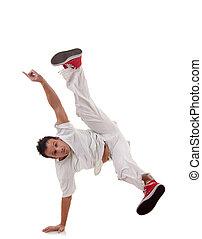 heup, stijl, danser, het poseren, hop