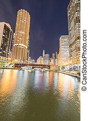 heure, marina, bleu, horizons, rive, rue, anse, état, chicago, pour