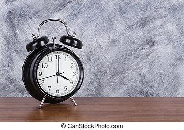 heure, mur, vendange, horloge, bois, 4, fond, table