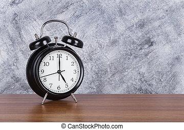 heure, mur, vendange, horloge, bois, 5, fond, table