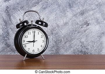 heure, mur, vendange, horloge, bois, fond, 9, table