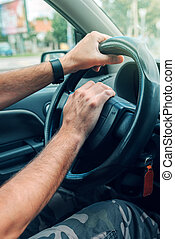 heure pointe, nerveux, pousser, chauffeur, corne, trafic, voiture, mâle