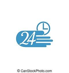 heure, symbole, vecteur, 24, service, livraison rapide