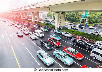 heure, urbain, trafic, jonc