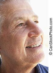 heureusement, milieu, portrait, sourire, vieilli, homme