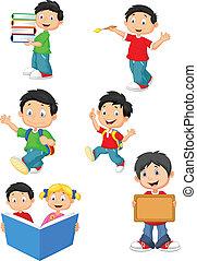 heureux, écoliers, dessin animé, colle