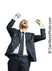 heureux, énergique, très, homme affaires