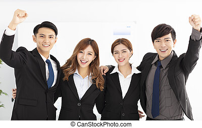heureux, équipe, bureau, business, jeune