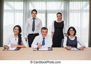 heureux, équipe, business