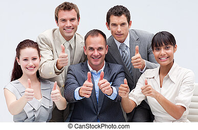 heureux, équipe, haut, business, pouces