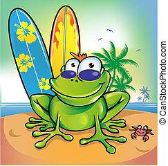 heureux, été, grenouille