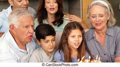 heureux, étendu famille, célébrer, a, anniversaire