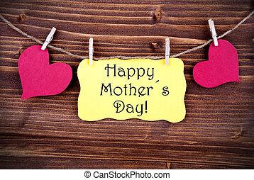 heureux, étiquette, jour, jaune, mères