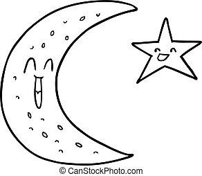 heureux, étoile, dessin animé, lune