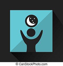 heureux, étoile, sommeils, lune, icône, rêves, homme