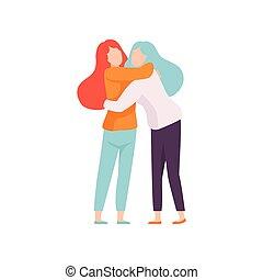 heureux, événement, concept, gens, autre, chaque, deux, illustration, célébrer, vecteur, amis, embrasser, femmes, amitié, mieux, réunion