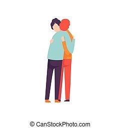 heureux, événement, concept, gens, autre, hommes, jeune, illustration, deux, célébrer, vecteur, amis, chaque, embrasser, amitié, mieux, réunion