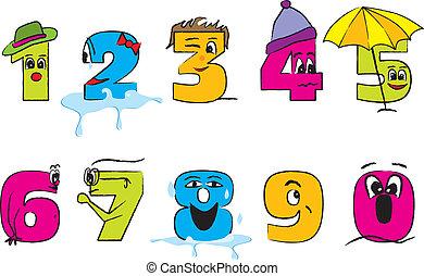 heureux, 0-9, coloré, nombres