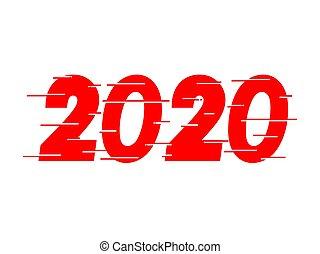 heureux, 2020, conception, rouges, nouveau, texte, année