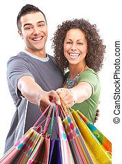 heureux, achats, gens
