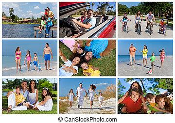 heureux, actif, famille, montage, dehors, vacances été