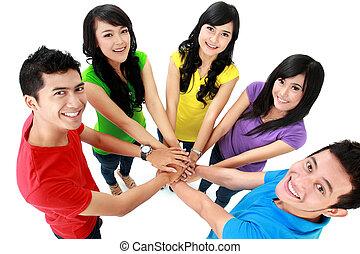 heureux, adolescent, groupe