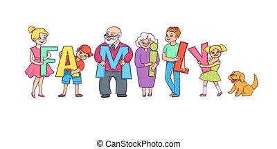 heureux, adultes, et, gosses, tenue, famille, mot, lettres