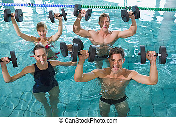 heureux, aero, eau, classe, fitness