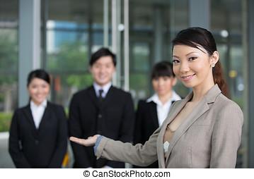 heureux, affaires asiatiques, équipe