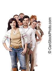 heureux, affaires gens, équipe, groupe ensemble