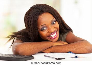 heureux, africaine, étudiant université