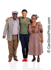heureux, africaine, famille