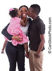 heureux, africaine, mère, à, elle, enfants