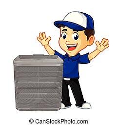 heureux, air, ou, technicien, hvac, climatiseur, nettoyeur