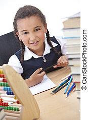 heureux, américain africain, race mélangée, eduquer fille
