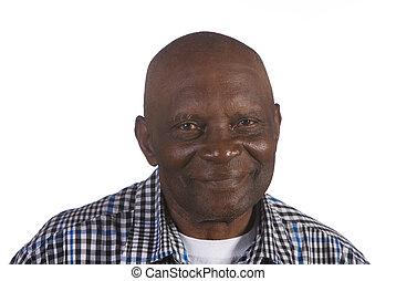 heureux, américain, homme, vieux, africaine