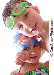 heureux, amis, à, lunettes protectrices