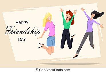 heureux, amitié, jour, carte voeux