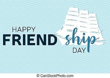 heureux, amitié, jour, salutation, card.