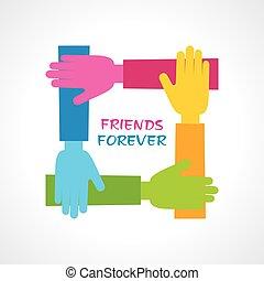 heureux, amitié, jour, salutation, stockage, vecteur