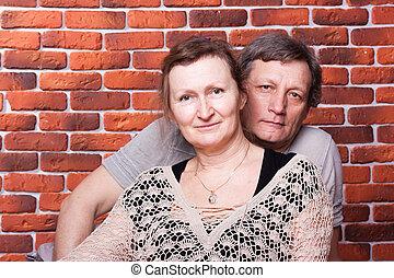heureux, amour, aînés, couple